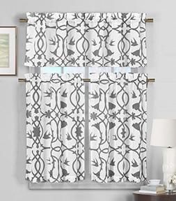 3 Piece Semi Sheer Window Curtain Set: Botanical Design, 2 T