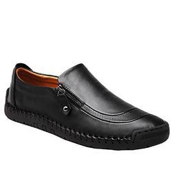 SuperDuo Men's 5709 Black/Light Brown Slip on Leather Fashio
