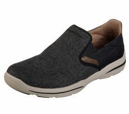 65579 Black Skechers shoes Men Canvas Memory Foam Slip On Co