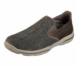 65579 Brown Skechers shoes Men Canvas Memory Foam Slip On Co