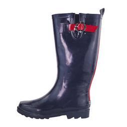 Nautica Women's Lovise Mid-Calf Rain Boots Navy/Red 6 READ