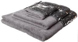 Popular Bath Sinatra 3-Piece Towel Set, Silver