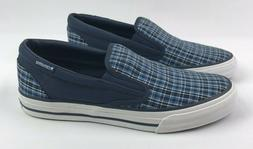 Converse All Star M 10 W 11.5 Blue Plaid Deck Slip On Shoes