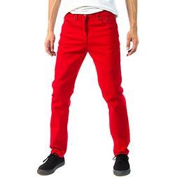 Alta Designer Fashion Mens Slim Fit Skinny Denim Jeans - Red
