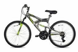 Northwoods Aluminum Full Suspension Mountain Bike,24-Inch,Gr