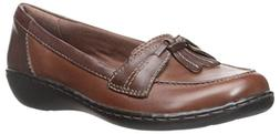 CLARKS Women's Ashland Bubble Slip-On Loafer, Brown Leather,