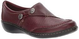 Clarks Women's Ashland Lane Q Slip-on Loafer, Burgundy, 10 W