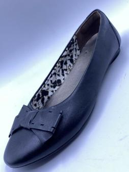 Clarks bendables Ballet Flat Leather Bow Tie Loafer Slip On