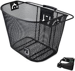 Biria bicycle Basket with Bracket Black - Front Quick Releas
