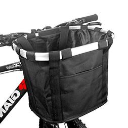 FUNSPORT Bicycle Basket Bike Front Basket Folding Detachable