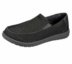 Skechers Black Shoes Men Canvas Memory Foam Slip On Comfort
