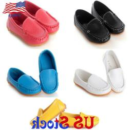 Boys Girls Boat Sneakers Flat Oxford Shoes Kids Baby PU Leat