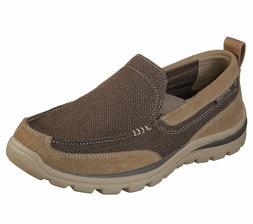 Skechers Brown Extra Wide Fit Shoe Men Comfort Slip On Casua