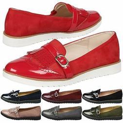 Byrn Womens Flats Low Heels Flatform Slip On Loafers Ladies