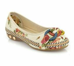 Casual Ladies Shoes Cotton Fabric Floral Printed Design Slip