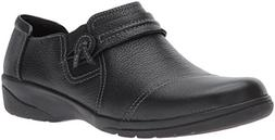 Clarks Women's Cheyn Madi Loafer, Black Tumbled Leather, 8 W