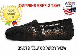 Toms Classic MOROCCO CROCHET Women's Shoes Black-Silver-Natu