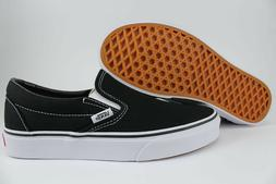 VANS CLASSIC SLIP-ON BLACK/WHITE LOAFERS SLIDES SKATE AUTHEN