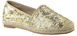 Bella Marie Women's Closed Toe Slip-On Glitter Woven Espadri