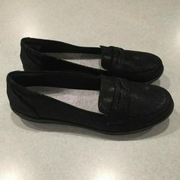 Clarks Cloud Stepper Women's Black Fabric Slip On Loafer Sho