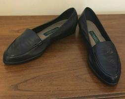 Easy Spirit Continental Black Leather Slip On Loafers Size 8