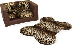 Deluxe Orthopedic Memory Foam Dog Bed Set, Small, Leopard