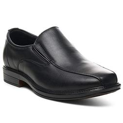 Alpine Swiss Mens Dress Shoes Black Leather Lined Slip on Lo