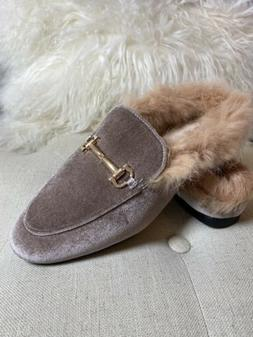 Hot Kiss Emerald Taupe Velvet Fabric Fur Flat Loafers Mules
