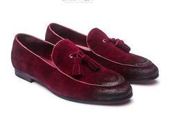 Fashion mens Suede Leather Dress Tassels Slip On Loafer Casu