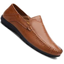 genuine leather casual slip loafers