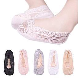 Girls Lace No Show Socks Non-slip Silicone Grips Low Cut Boa