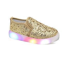 USANDY Girls' Light Up Sequins Shoes Slip-on Flashing LED Ca