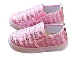 Otamise Girls' Light up Sequins Shoes Slip-on Flashing LED C