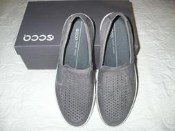 ECCO GRAY LEATHER LOAFERS SIZE 44