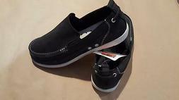 Crocs Harborline Boat Shoe Sneaker Black Nubuck Men's Relaxe