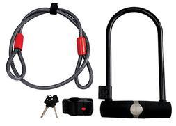 Diamondback Holmes U-Lock with Cable Bicycle Lock Set, Black