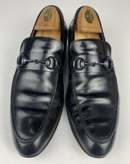 GUCCI Horsebit Loafers Leather Black Men Size US 8