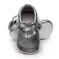 Infant Toddler Moccasins Baby Crib Shoes Soft Leather Sole T