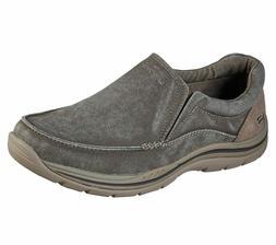 Skechers Khaki Extra Wide Fit Shoe Men Comfort Slipon Casual