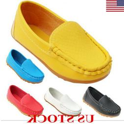 Kids Boys Girls Toddler Slip On Leather Flat Loafers Casual