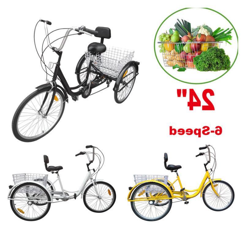 """24"""" 6-Speed Adult 3 Wheel Bicycle Tricycle Basket Cruiser El"""