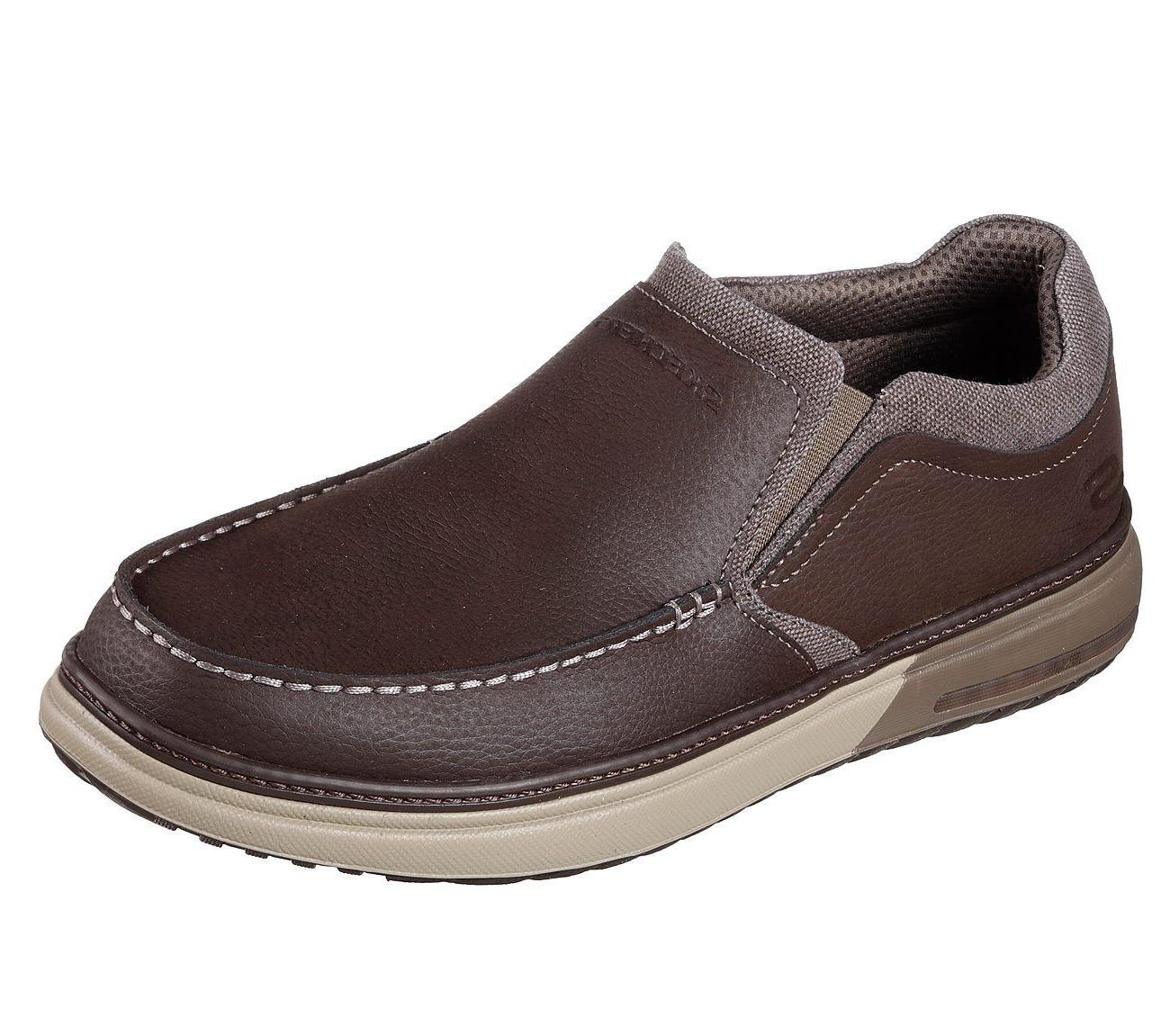65366 Brown Skechers shoes Men Memory Foam Loafer Casual Com
