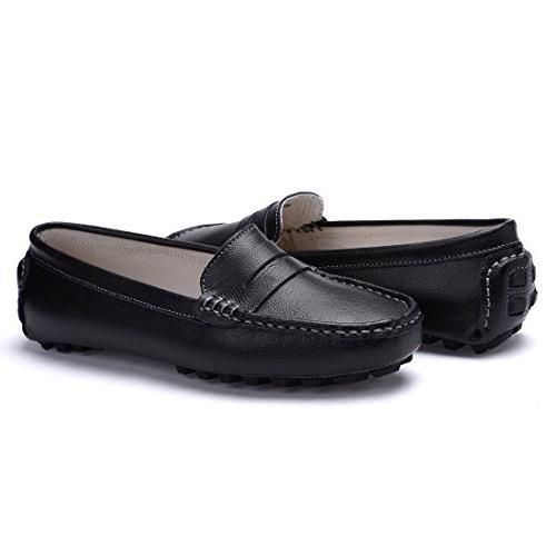 SUNROLAN Genuine Leather Penny Driving Moccasins Slip-On Flats Shoes