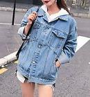 Women's Retro Boyfriend Oversized Denim Jacket Loose Jeans C