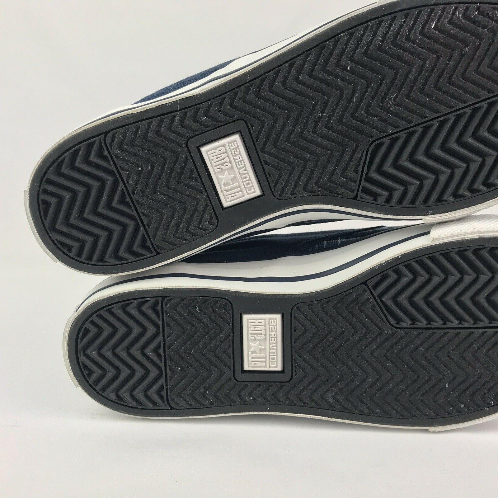 Converse All 10 W Blue Plaid Slip Shoes