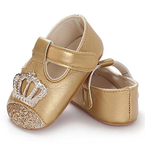 Baby Infant Boys Crown Shoe Crib Prewalker Soft Anti-slip Shoes
