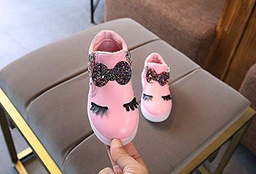 CieKen Baby Bowknot LED Boots Sport Shoes Loafers,Pink,5.5-6T