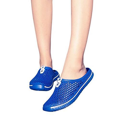 YOcheerful Men Beachwear Shoes Men Hollow Slippers Couple Flops Blue