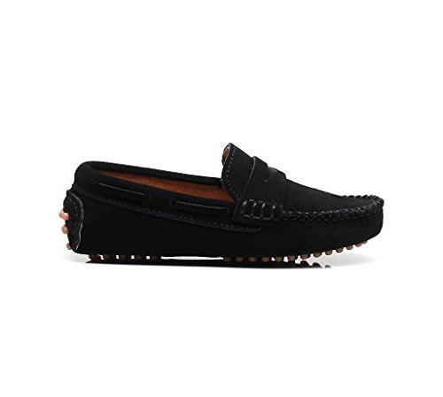 Shenn Boys' Cute Black Suede Leather Shoes