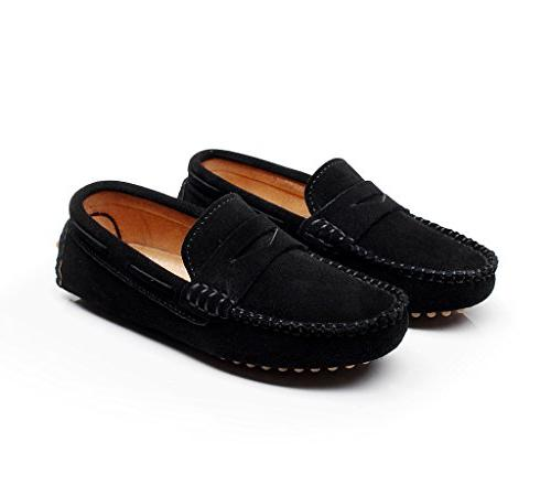 Shenn Cute Slip-On Black Suede Leather Loafers Shoes S8884 US1